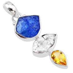 11.26cts citrine blue tanzanite raw herkimer diamond 925 silver pendant t10833