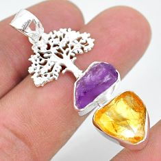11.57cts citrine raw amethyst rough 925 silver tree of life pendant t33561