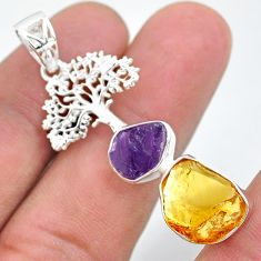 11.62cts citrine raw amethyst rough 925 silver tree of life pendant t33562