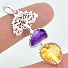 12.06cts citrine raw amethyst rough 925 silver tree of life pendant t33582
