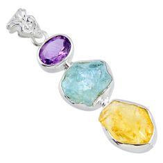 14.33cts citrine rough aquamarine rough amethyst 925 silver pendant r56653