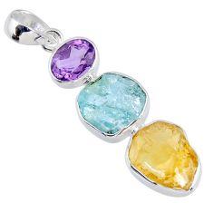 13.55cts citrine rough aquamarine rough amethyst 925 silver pendant r56654