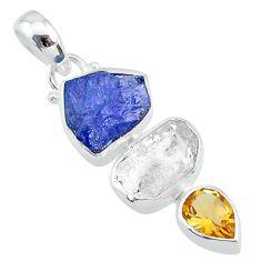 11.26cts citrine tanzanite raw herkimer diamond 925 silver pendant t10811