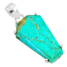 11.65cts coffin green arizona mohave turquoise 925 silver pendant r81966