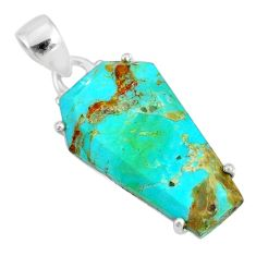 12.17cts coffin green arizona mohave turquoise 925 silver pendant r81989