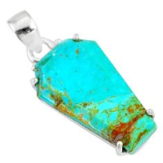 11.65cts coffin green arizona mohave turquoise 925 silver pendant r81992