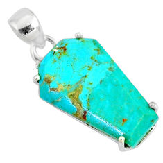 11.00cts coffin green arizona mohave turquoise fancy 925 silver pendant r81967