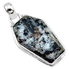 15.65cts coffin natural astrophyllite (star leaf) 925 silver pendant t11761