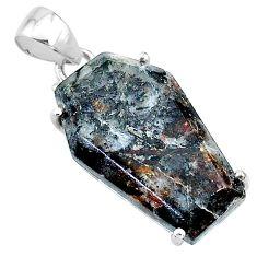14.67cts coffin natural astrophyllite (star leaf) 925 silver pendant t11992