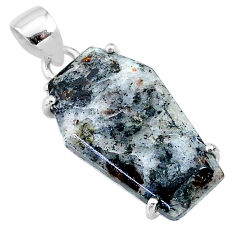 14.08cts coffin natural astrophyllite (star leaf) 925 silver pendant t11994