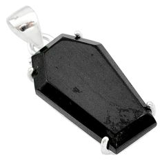 14.20cts coffin natural black onyx 925 sterling silver handmade pendant t1075
