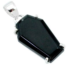14.73cts coffin natural black onyx 925 sterling silver pendant jewelry t12014