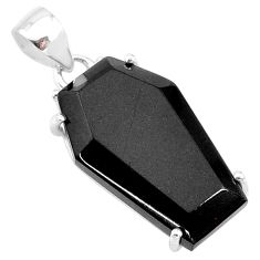 15.34cts coffin natural black onyx 925 sterling silver pendant jewelry t12030