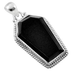 17.22cts coffin natural black onyx 925 sterling silver pendant jewelry t47901