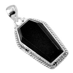 15.96cts coffin natural black onyx 925 sterling silver pendant jewelry t47911