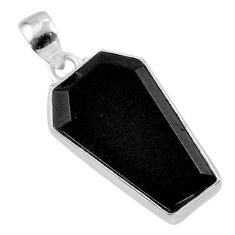 Clearance Sale- 14.60cts coffin natural black onyx 925 sterling silver pendant jewelry t47913