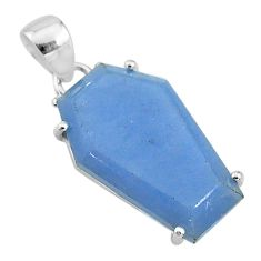 13.13cts coffin natural blue angelite 925 sterling silver pendant jewelry t11841