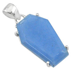 14.25cts coffin natural blue angelite 925 sterling silver pendant jewelry t11842