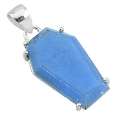 13.61cts coffin natural blue angelite 925 sterling silver pendant jewelry t11846