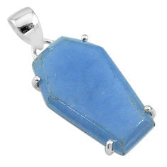 13.13cts coffin natural blue angelite 925 sterling silver pendant jewelry t11849