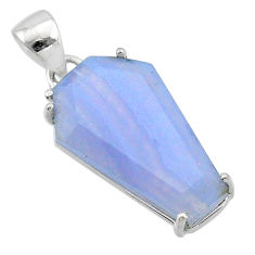 13.20cts coffin natural blue lace agate 925 sterling silver pendant t1020