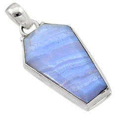 14.23cts coffin natural blue lace agate 925 sterling silver pendant t1052