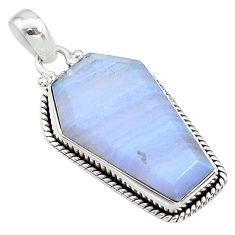 16.28cts coffin natural blue lace agate 925 sterling silver pendant t1062