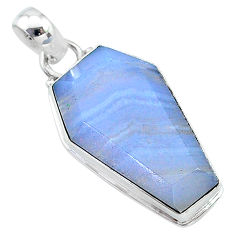 15.65cts coffin natural blue lace agate 925 sterling silver pendant t11747