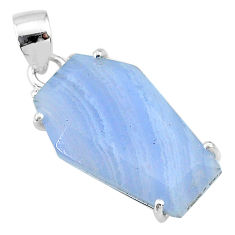 13.13cts coffin natural blue lace agate 925 sterling silver pendant t12019