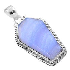 15.58cts coffin natural blue lace agate 925 sterling silver pendant t47919
