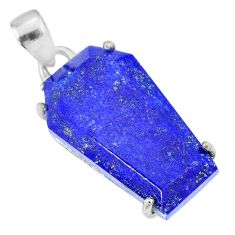 15.68cts coffin natural blue lapis lazuli 925 sterling silver pendant r81973