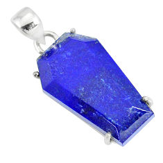 16.69cts coffin natural blue lapis lazuli 925 sterling silver pendant r81976