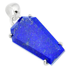 15.26cts coffin natural blue lapis lazuli 925 sterling silver pendant r81978