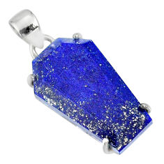 15.24cts coffin natural blue lapis lazuli 925 sterling silver pendant r81980