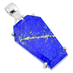 16.87cts coffin natural blue lapis lazuli 925 sterling silver pendant r82000