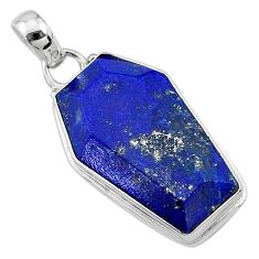16.23cts coffin natural blue lapis lazuli 925 sterling silver pendant t11712