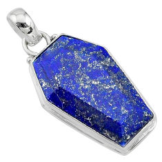 16.73cts coffin natural blue lapis lazuli 925 sterling silver pendant t11714