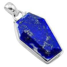 16.53cts coffin natural blue lapis lazuli 925 sterling silver pendant t11716