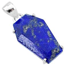 13.52cts coffin natural blue lapis lazuli 925 sterling silver pendant t12048