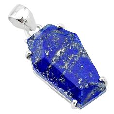 14.20cts coffin natural blue lapis lazuli 925 sterling silver pendant t12054