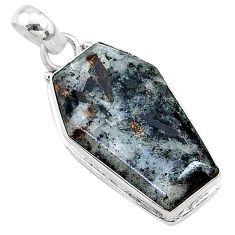 15.60cts coffin natural bronze astrophyllite (star leaf) silver pendant t11769