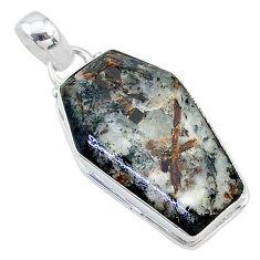15.72cts coffin natural bronze astrophyllite (star leaf) silver pendant t11776
