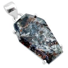 14.81cts coffin natural bronze astrophyllite (star leaf) silver pendant t11993