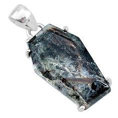 14.08cts coffin natural bronze astrophyllite (star leaf) silver pendant t11997
