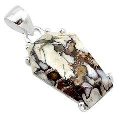 11.93cts coffin natural bronze wild horse magnesite 925 silver pendant t12005