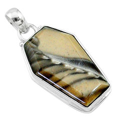 15.05cts coffin natural brown imperial jasper 925 sterling silver pendant t11816