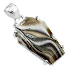 13.69cts coffin natural brown imperial jasper 925 sterling silver pendant t11829