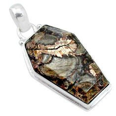 15.65cts coffin natural brown mushroom rhyolite 925 silver pendant t11742
