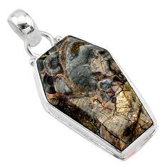 16.05cts coffin natural brown mushroom rhyolite 925 silver pendant t11748