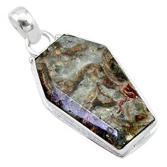 15.60cts coffin natural brown mushroom rhyolite 925 silver pendant t11749